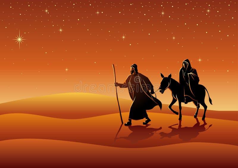 Mary i Joseph, podróż Betlejem ilustracja wektor