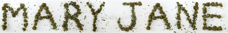 Mary Jane Spelled With Marijuana stock images