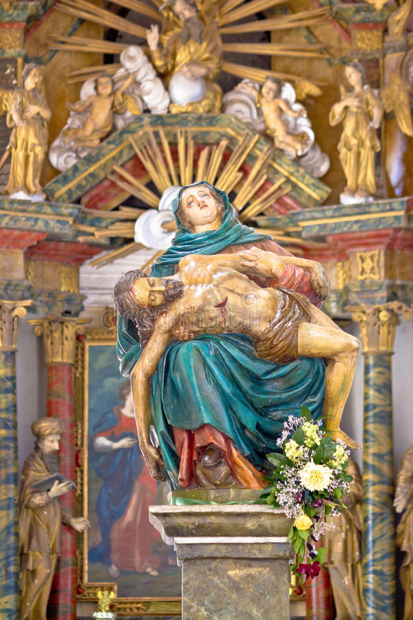 Mary and Jesus 16 century statue royalty free stock photography