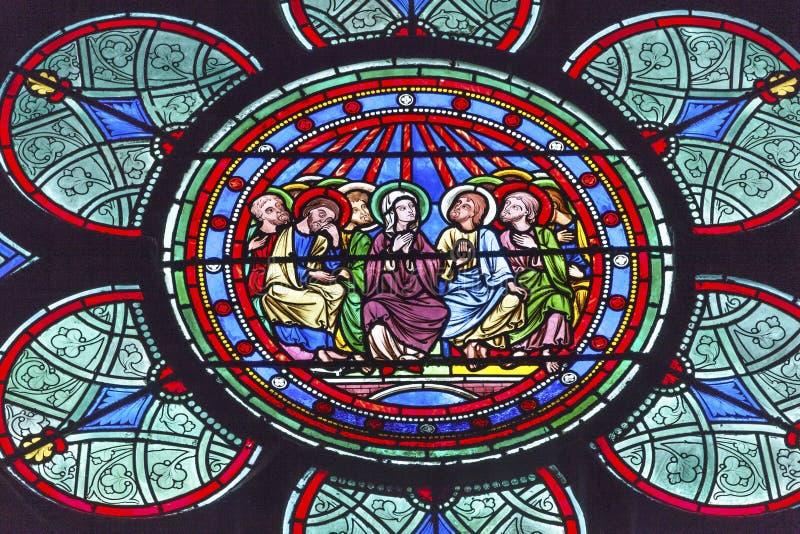 Mary Jesus Christ Disciples Stained Glass Notre Dame Paris France fotos de stock