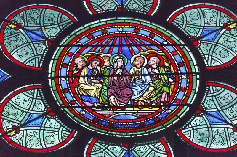 Mary Jesus Christ Disciples Stained Glass Notre Dame Paris France. Three Kings Mary Jesus Christ Stained Glass Notre Dame Cathedral Paris France. Notre Dame was stock photos