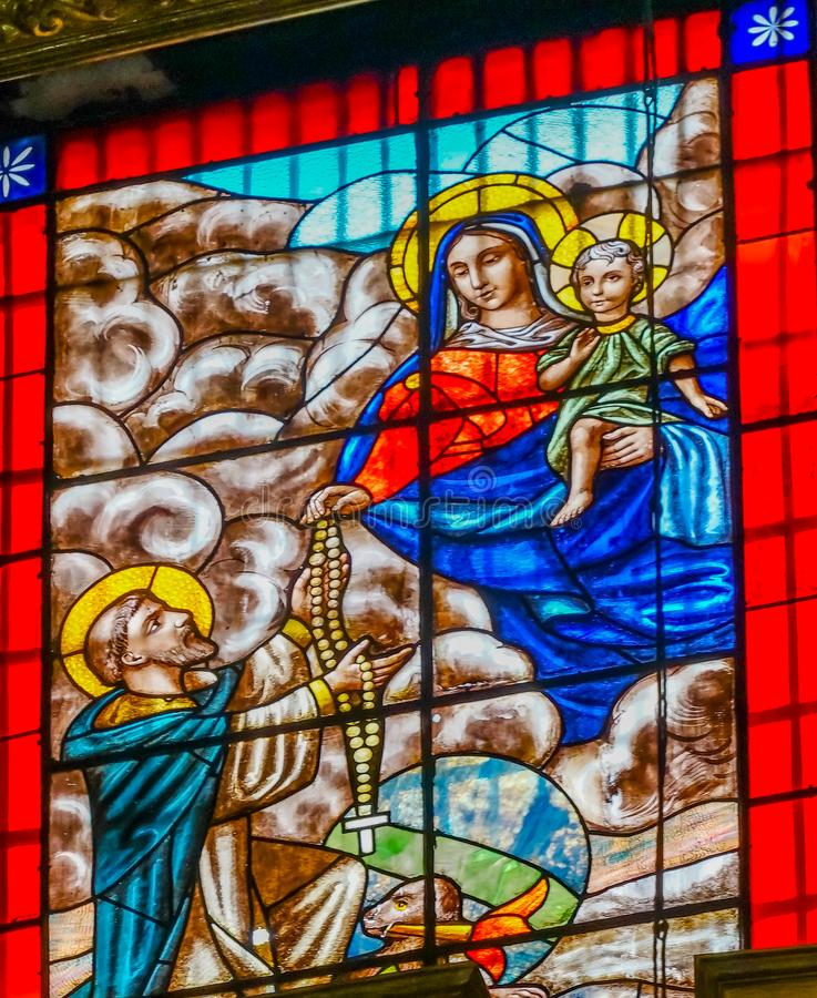 Mary Jesus Saint Stained Glass Santo Domingo Church Mexico City Mexico foto de archivo