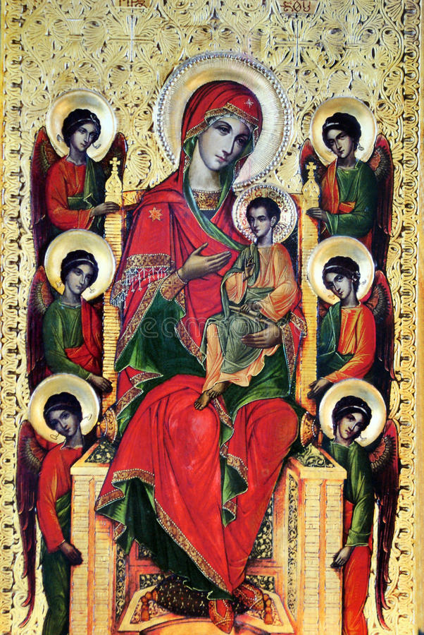 Mary with Jesus and six angels stock images