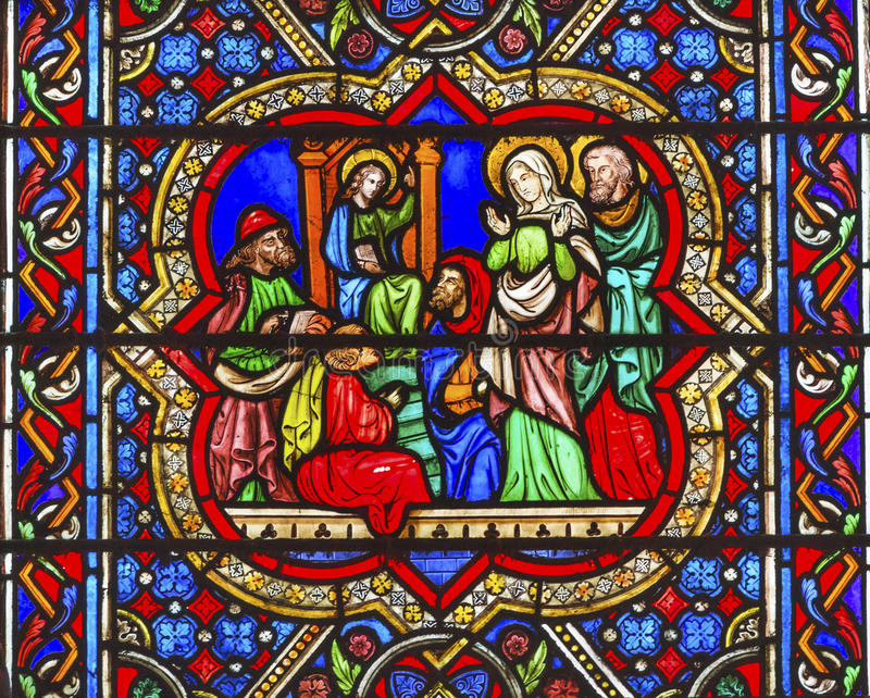 Mary Jesus Stained Glass Notre Dame-Kathedrale Paris Frankreich lizenzfreies stockfoto