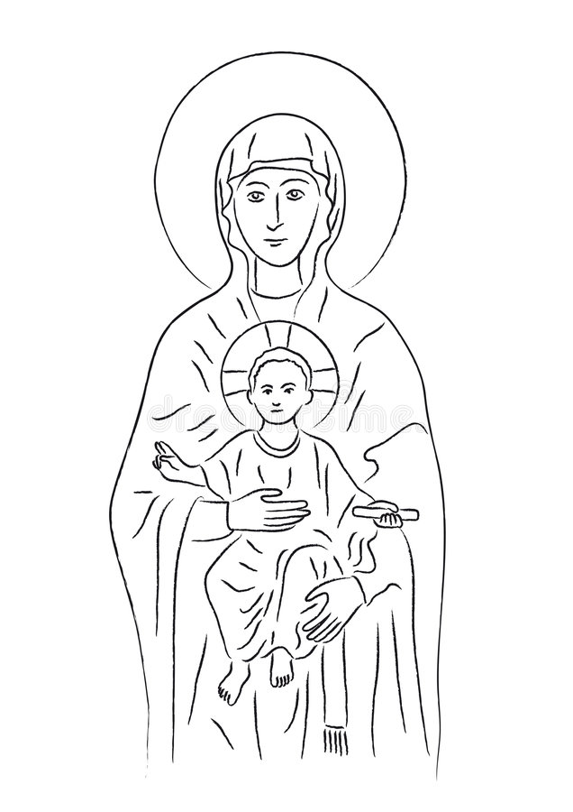 Mary and Jesus (vector) royalty free illustration