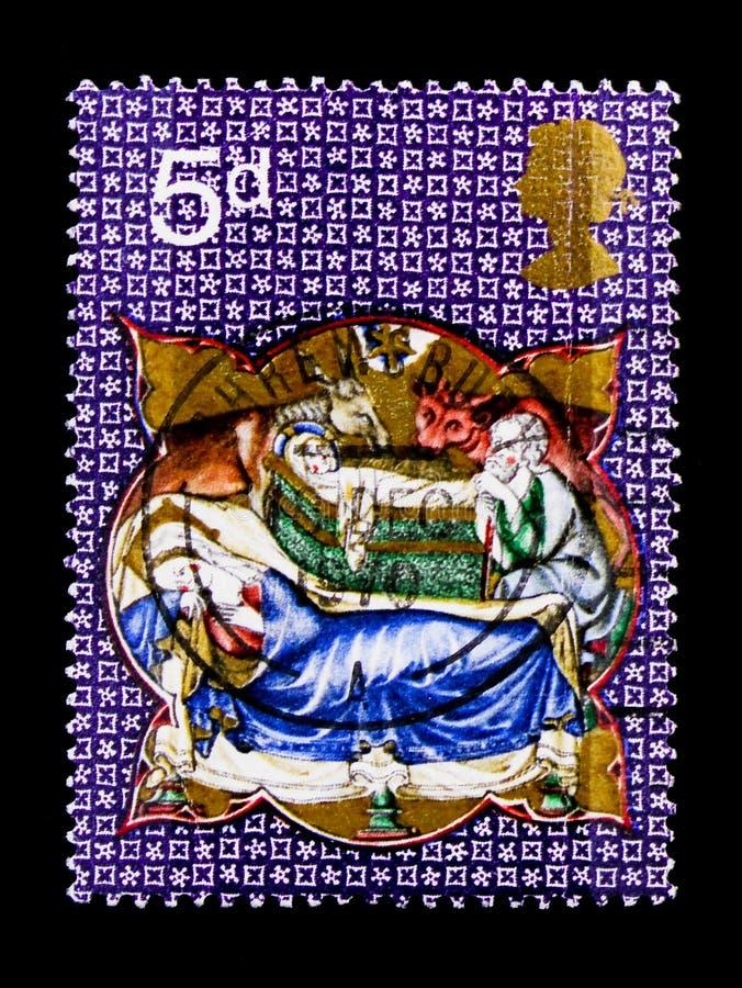 Mary, Josef och Kristus i krubban, jul 1970 - Robert De Lisle Psalter serie, circa 1970 royaltyfri fotografi