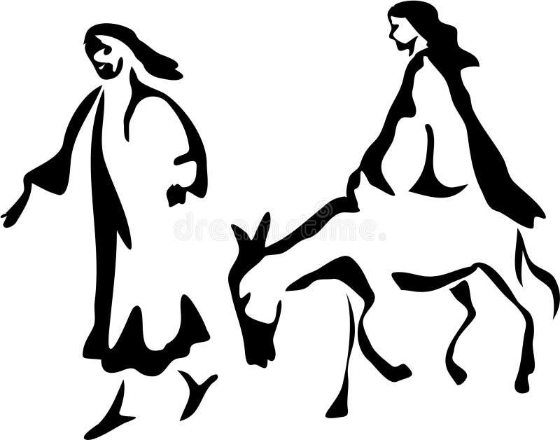 Mary and Joseph vector illustration