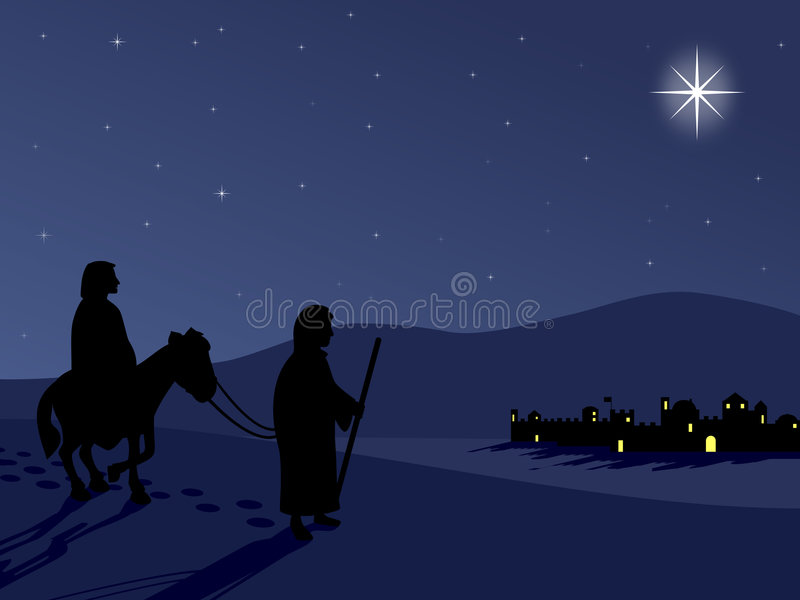 Download Mary And Joseph By Bethlehem Stock Illustration - Illustration: 6869187