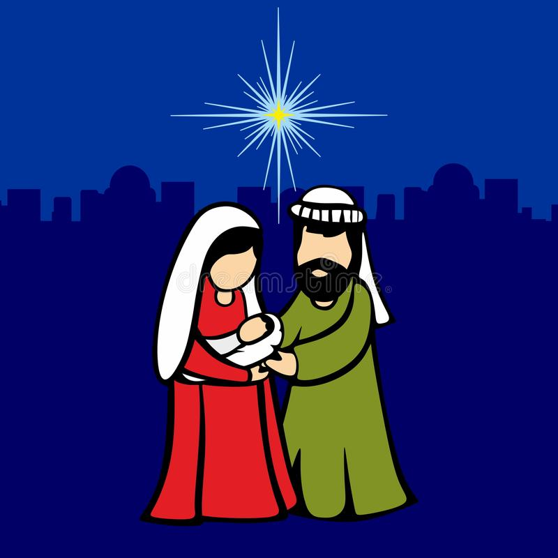 Mary, Joseph et petit Jésus Scène de Noël de la naissance de l'étoile du Christ de Bethlehem illustration libre de droits
