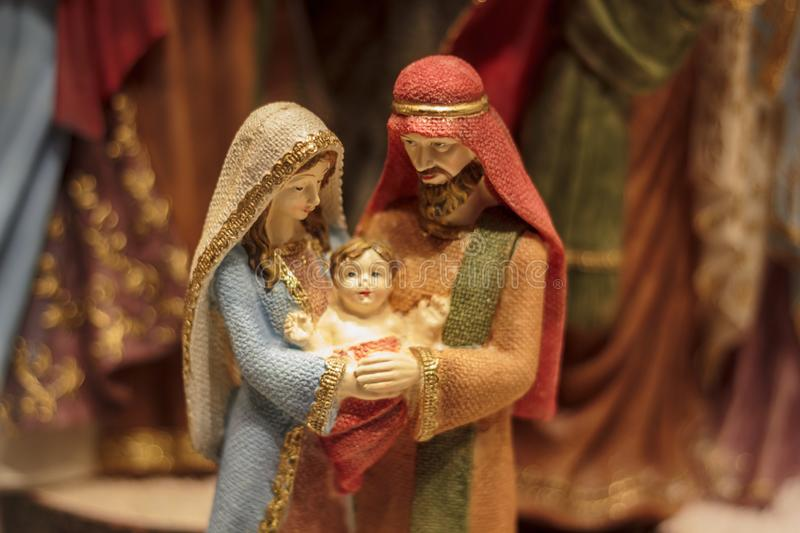 Mary and Joseph with baby Jesus stock image