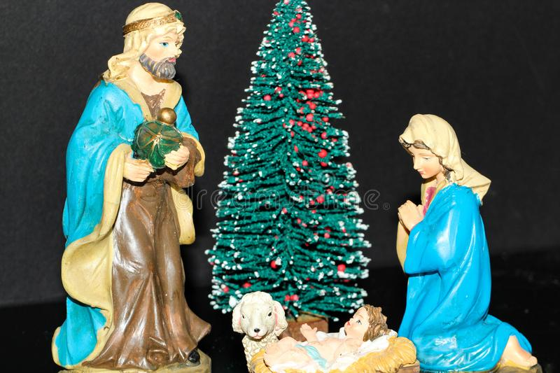 Mary and Joseph with Jesus statues stock image