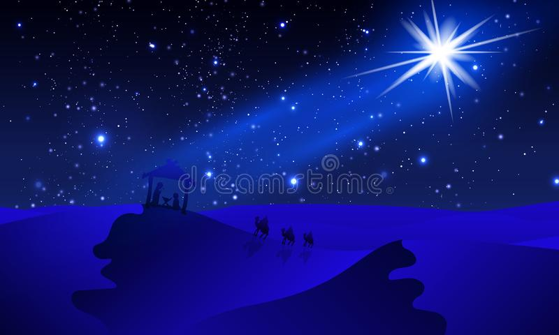Mary with Joseph and Jesus to travelers in the night blue desert royalty free illustration