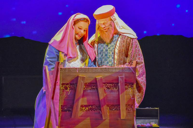 Mary and Joseph in O Wondrous Night show on Christmas Celebration at Seaworld 3. royalty free stock photography