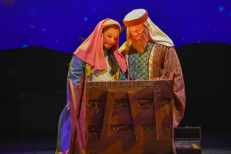 Mary and Joseph in O Wondrous Night show on Christmas Celebration at Seaworld 1 stock photography