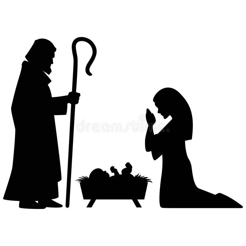 Mary, Joseph och Jesus stock illustrationer