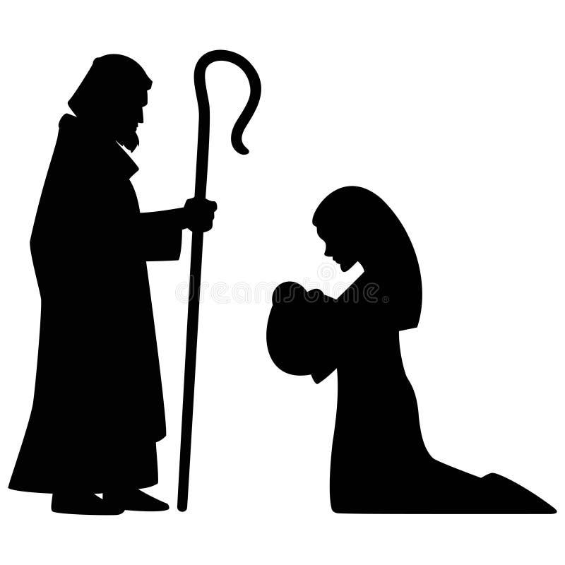 Mary, Joseph und Schätzchen Jesus vektor abbildung