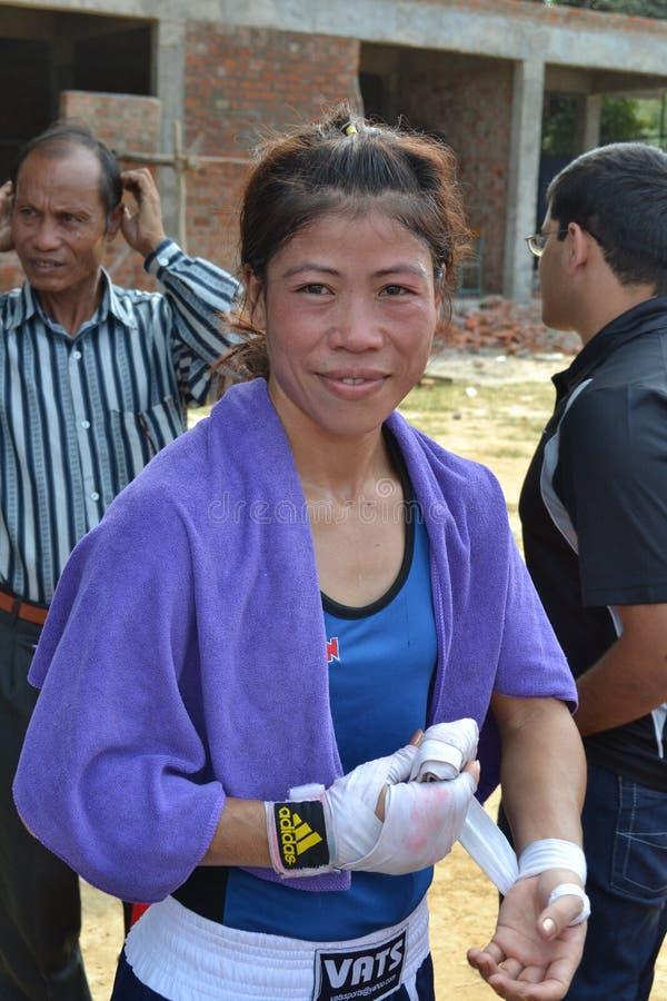 Mary Kom är en indisk olympisk boxare fotografering för bildbyråer