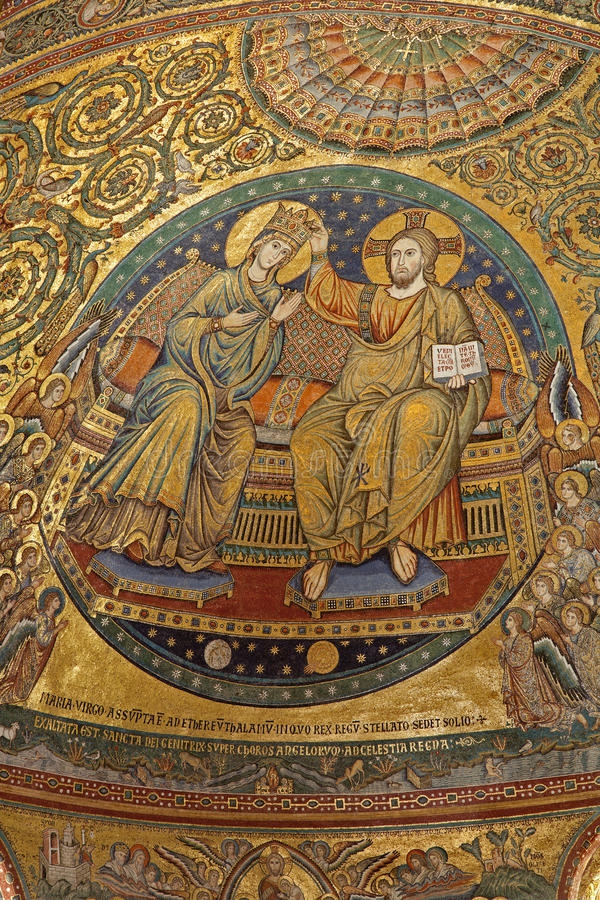 mary koronacyjna święta mozaika Rome obraz royalty free