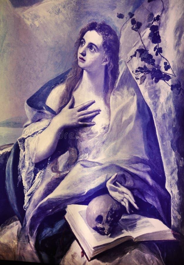 Mary Magdalena da pintura de El Greco no museu da casa do lugar de nascimento de Fodele fotografia de stock
