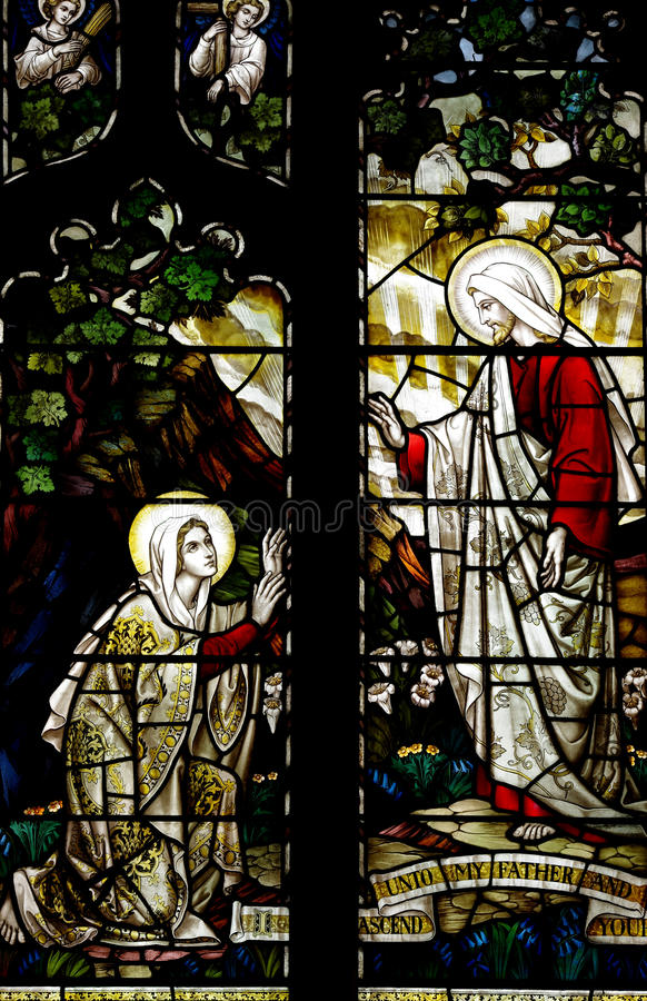 Mary Magdalene and Jesus Christ in stained glass. A photo of Mary Magdalene and Jesus Christ in stained glass royalty free stock photography