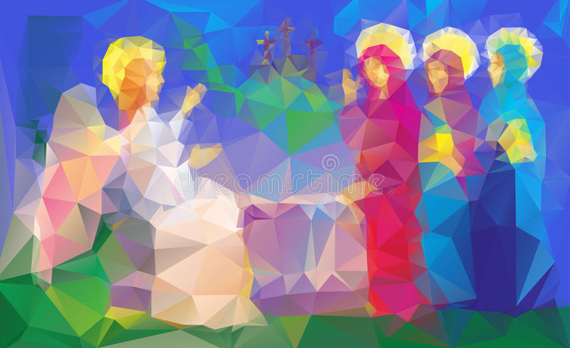 Mary Magdalene near enty tomb. Scene of Mary Magdalene near enty tomb, became to see Jesus after his resurrection, in triangles style vector illustration