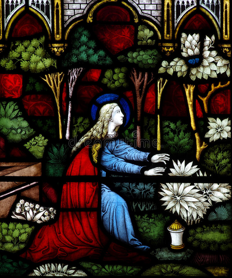 Mary Magdalene in stained glass. A photo of a Mary Magdalene in stained glass royalty free stock image