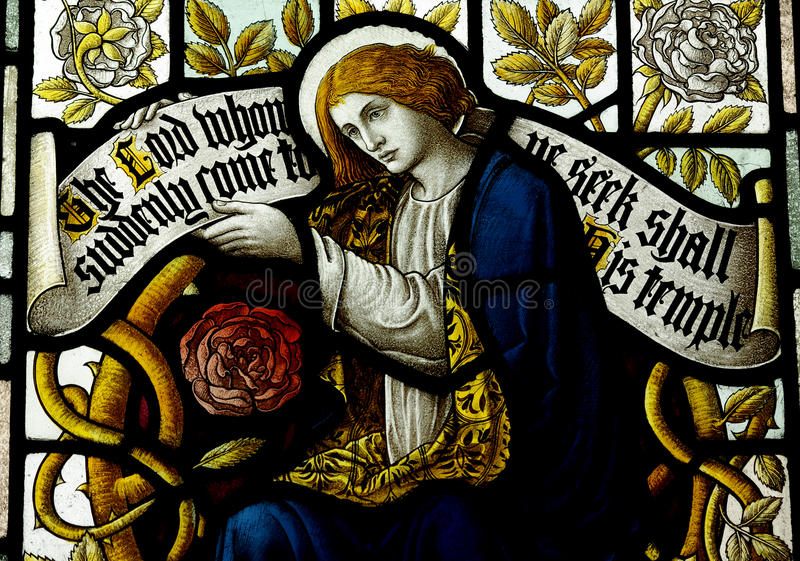 Mary Magdalene in stained glass. A photo of Mary Magdalene in stained glass stock images