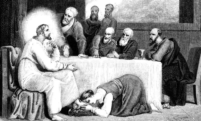 Mary Magdelane Washing The Feet de Jesus Christ ilustração do vetor