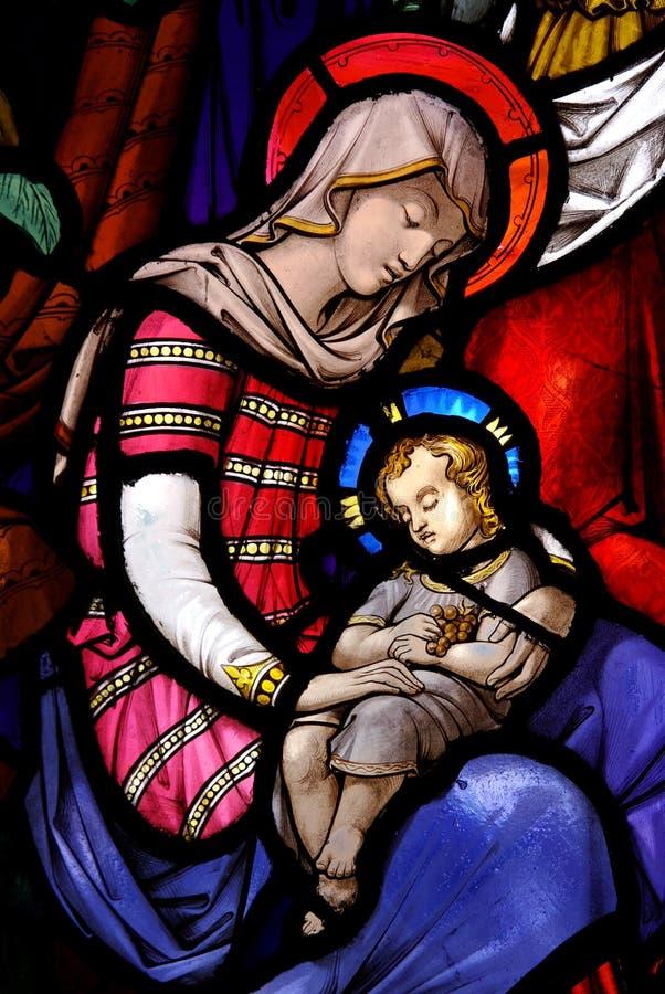 Mary met haar kind Jesus stock foto's