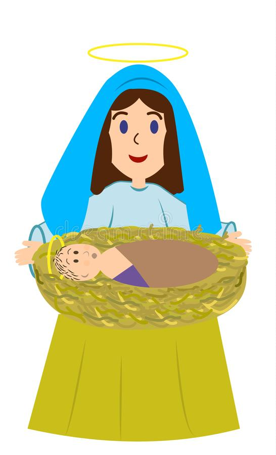 Mary, the mother of God with the newborn Jesus. Jesus is lying on the hay stock illustration