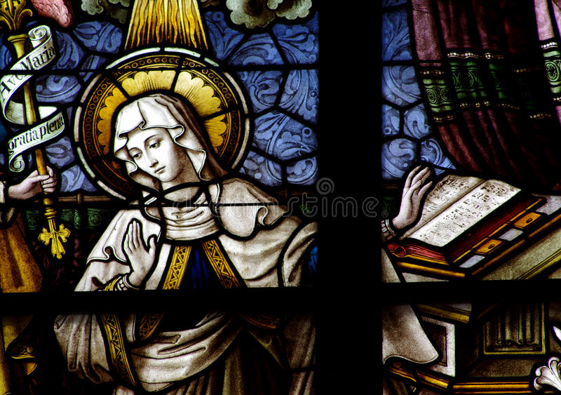Mary (mother of Jesus) in stained glass. A photo of Mary (mother of Jesus) in stained glass royalty free stock images