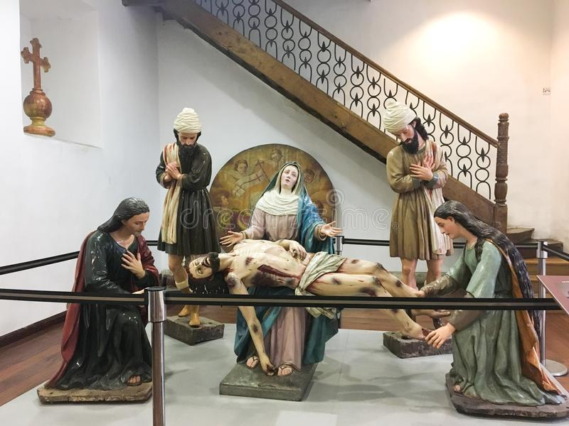 MARY NA PAIXÃO DE CRISTO, CUENCA EQUADOR fotografia de stock