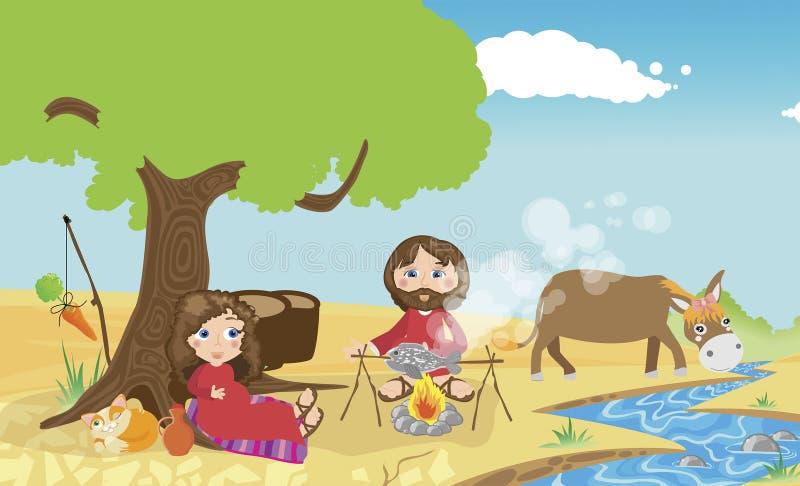 Mary och Joseph royaltyfri illustrationer
