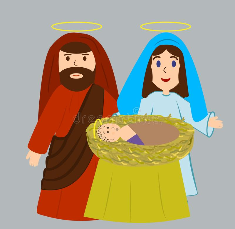 Mary och Joseph med den nyfödda Jesus Christ stock illustrationer