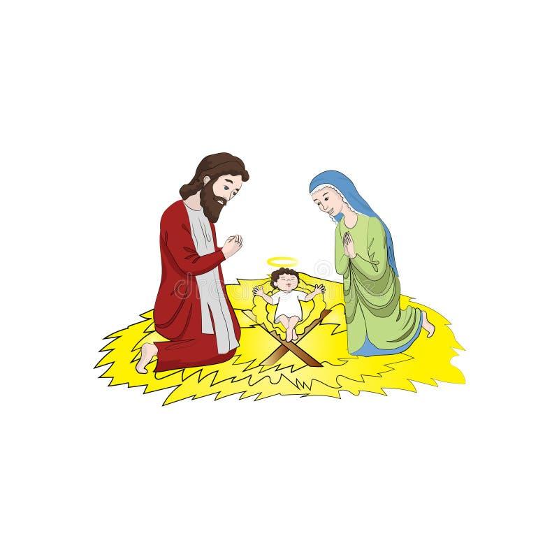 Mary och Joseph nära behandla som ett barn Jesus Christ Christmas Vektorfärg royaltyfri illustrationer
