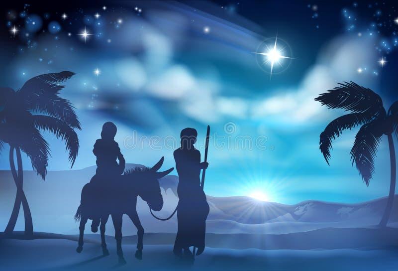 Mary och Joseph Nativity Christmas Illustration vektor illustrationer