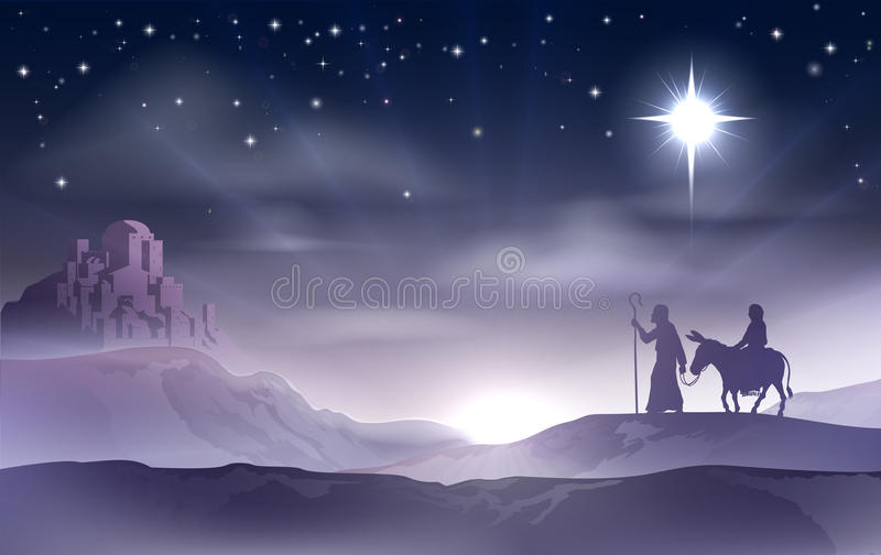 Mary och Joseph Nativity Christmas Illustration royaltyfri illustrationer