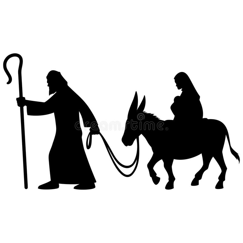 Mary och Joseph Silhouette royaltyfri illustrationer