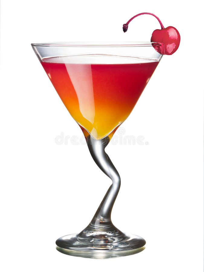 Mary Pickford alcoholic cocktail. In a glass decorated with maraschino cherry. All day official IBA cocktail royalty free stock images