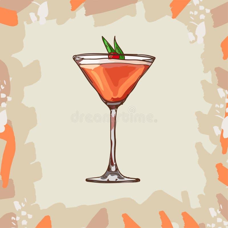 Mary Pickford koktajlu ilustracja Alkoholiczna ręka rysujący klasyka baru napoju wektor Wystrzał sztuka ilustracja wektor