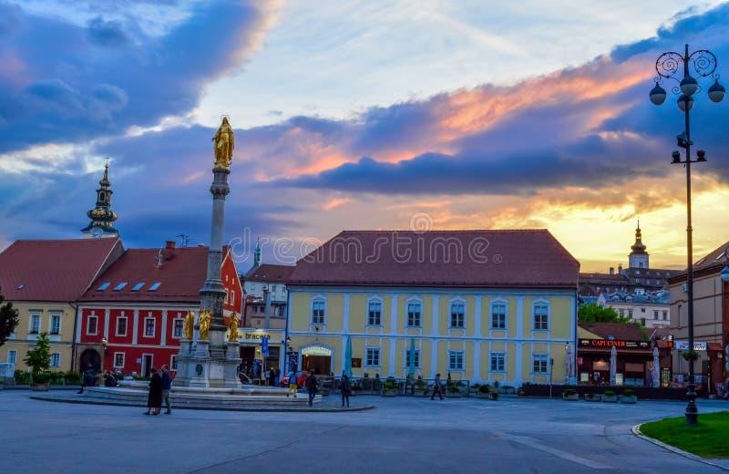 Mary Pillar santamente em Zagreb fotografia de stock