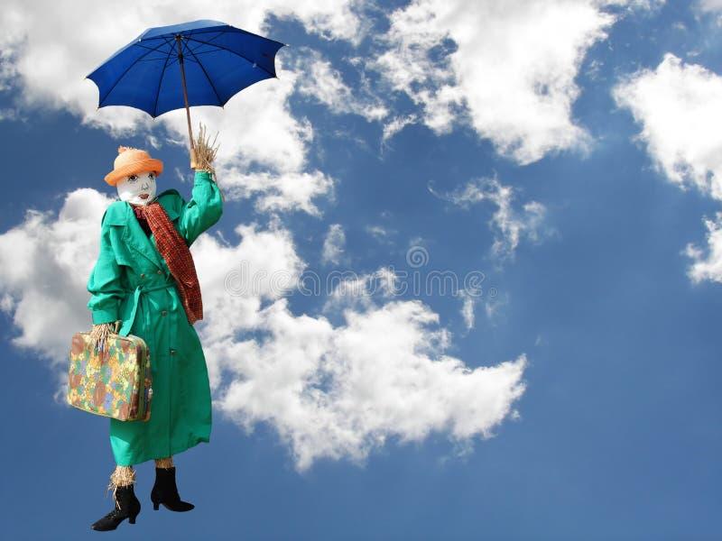Mary Poppins airborne royalty free stock photo