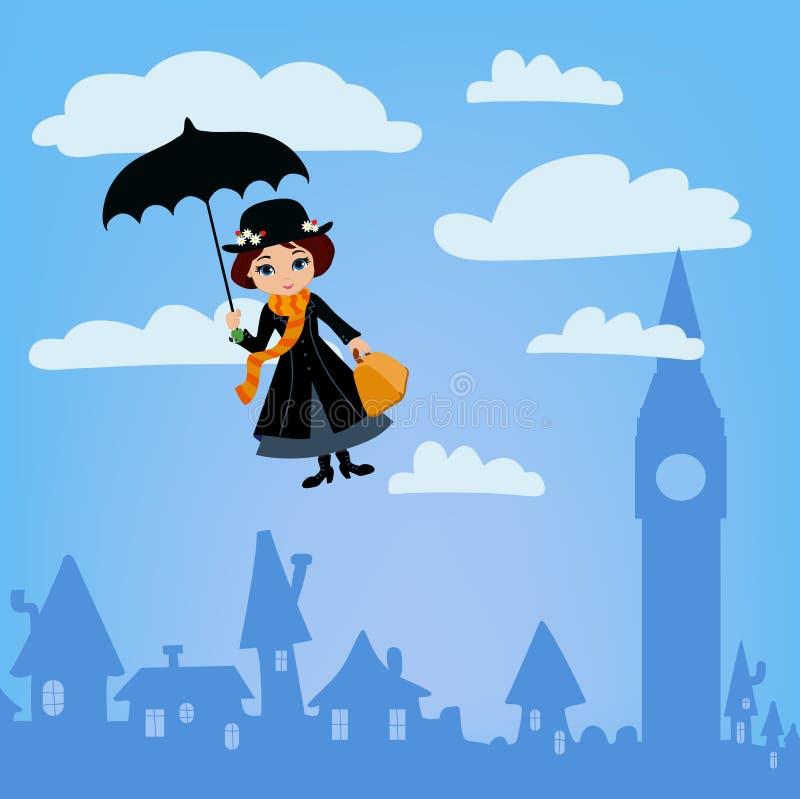 Mary Poppins flies over London. Vector Illustration stock illustration