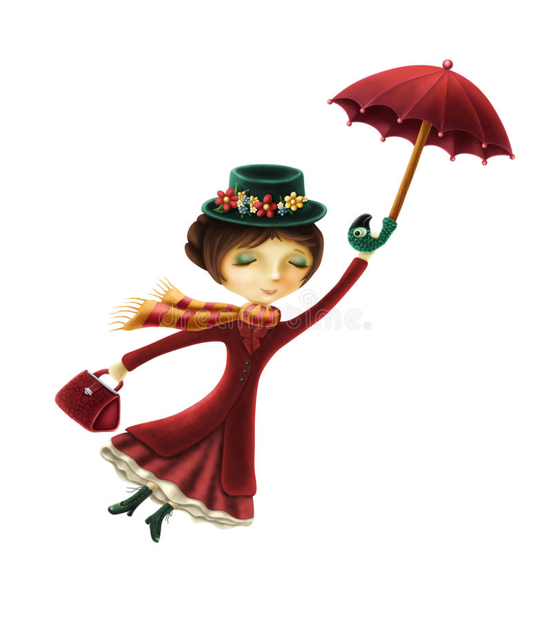 Mary Poppins. Isolated on a white background vector illustration