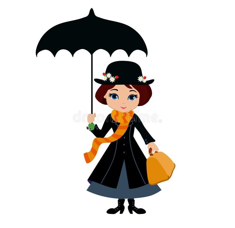 Mary Poppins mit Regenschirm lizenzfreie abbildung