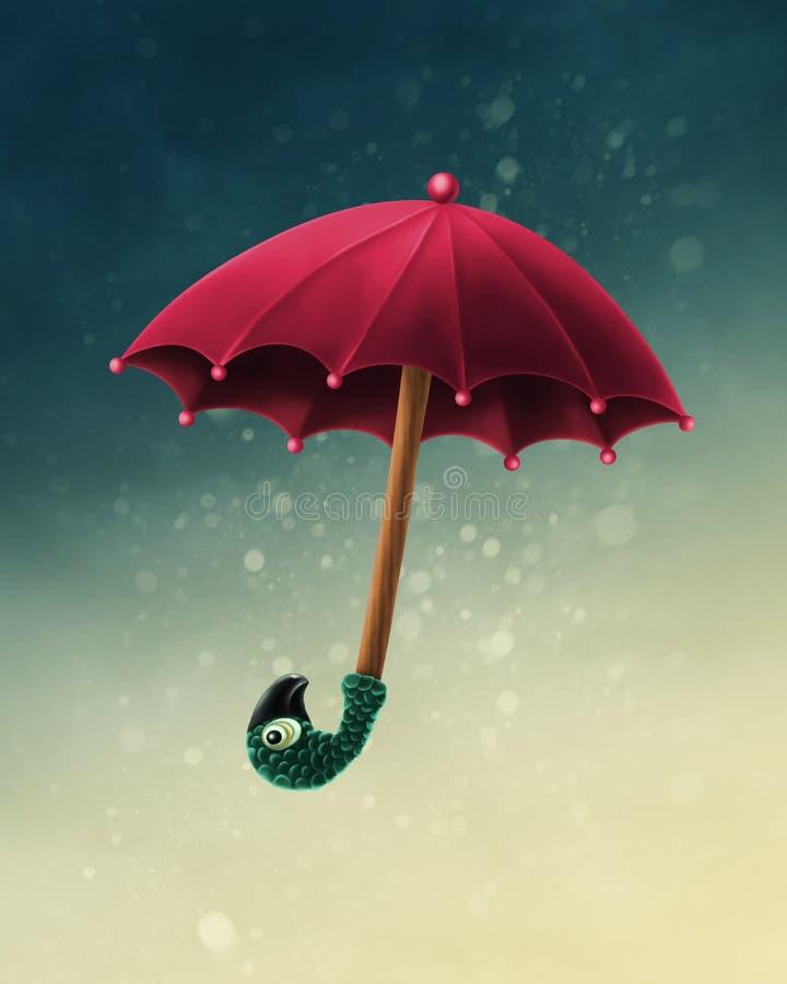 Mary Poppins umbrella. On a blue background stock illustration