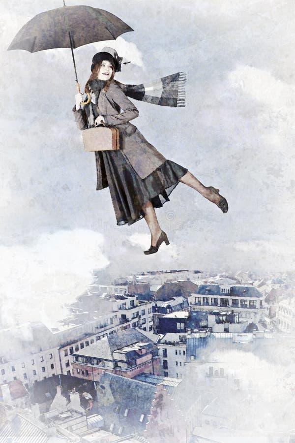 Mary Poppins vuela en un paraguas libre illustration