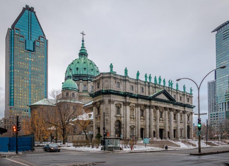 Mary Queen av världsdomkyrkan på snö - Montreal, Quebec, Kanada royaltyfri fotografi