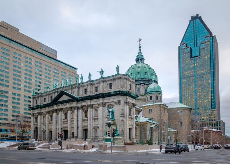 Mary Queen av världsdomkyrkan på snö - Montreal, Quebec, Kanada royaltyfria bilder