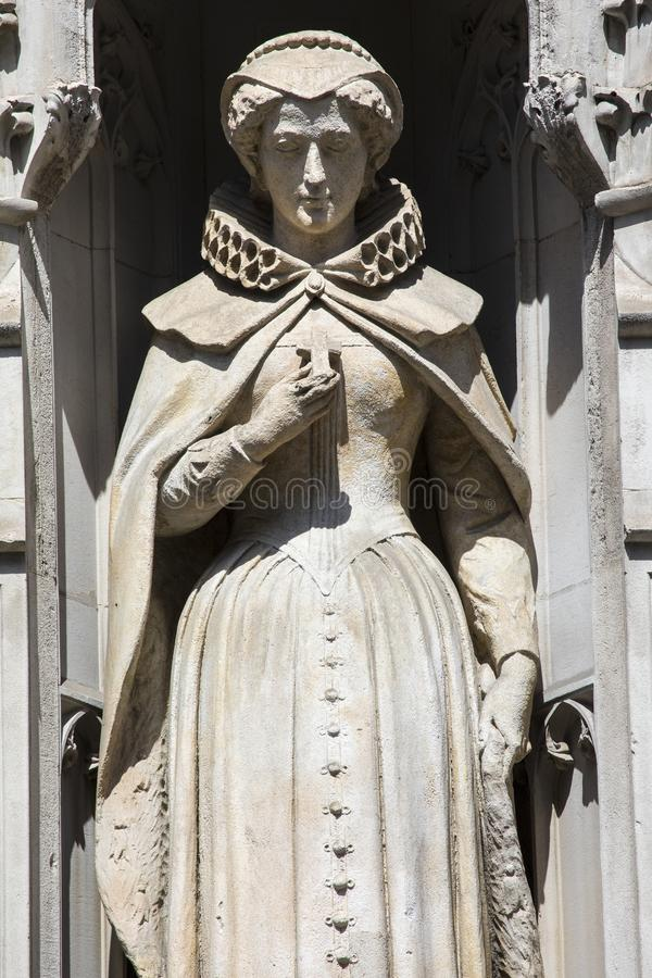 Mary Queen of Scots Statue in London. Statue of Mary Queen of Scots on the facade of a building on Fleet Street in the City of London, UK. She is also known as royalty free stock photography